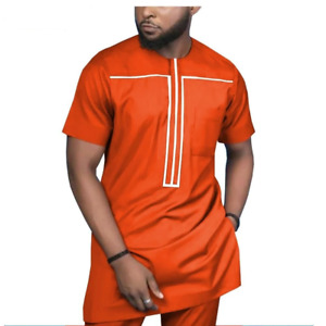 African Men Style 2-Piece Set Short Sleeve Senator Design Y31871