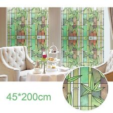 Vintage Bamboo Stained Glass Window Film Static Privacy Films Cling Cover Decor