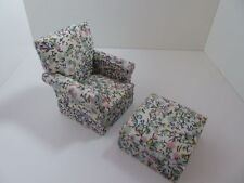 Dolls House Miniature 1.12th Scale Lounge Furniture Green & Pink Chair & Ottoman