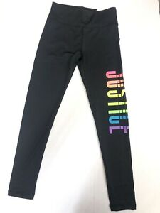 "New! Justice Girls Black Leggings Rainbow Color ""JUSTICE"" Size 8"