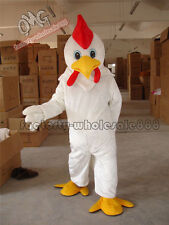 Hotsale Halloween White Chicken Rooster Mascot Costume Dress Adult Size New