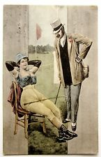 Risque WOMAN Lady with Riding Crop MAN in Tophat Early UDB Erotic Postcard