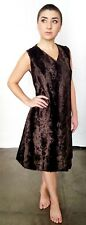 vintage hand made faux fur short a-line dress with a hidden snap front opening