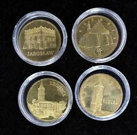 LOT OF 4 POLAND GOLD PLATED CAMEO COINS - UN PROOF 2 ZLOTE