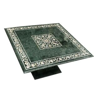 """48"""" green marble coffee Table Top inlay semi precious stones With marble Stand"""