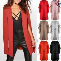 Womens Ladies Shawl Collared Open Placket Blazer Coat Longline Casual Midi Cape