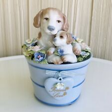 "Suberto Porcelain Musical Mom Dog & Puppy Figurine Plays ""Doggie In The Window"""