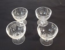Vintage Set of 4 Small Clear Glass Dessert Cups Footed w/Etched Grape Clusters