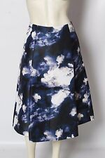 KATE SPADE Blue White DUSK CLOUDS Abstract Printed A Line Midi Skirt sz 4 S EUC