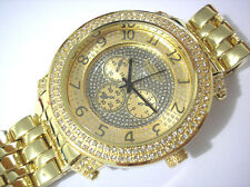 Iced Out Bling Bling Hip Hop Metal Band Techno King Men's Watch Gold