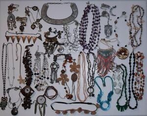 Junk Drawer Jewelry Lot - 30+ Chain Beaded Necklaces Fashion Jewelry Lot