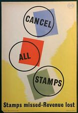 More details for 1950's gpo internal information poster i.r.p 59 - cancel all stamps