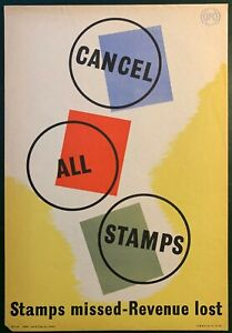 1950's GPO Internal Information Poster I.R.P 59 - CANCEL ALL STAMPS
