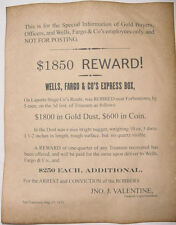 Wells, Fargo, & Co. / Laporte Stage Robbery Reward Poster, old west, wanted