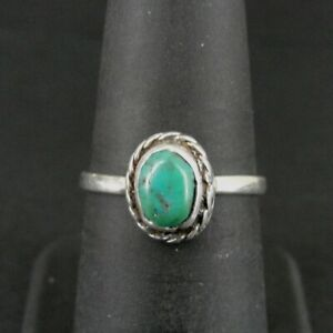 Ring Silver Turquoise Oval Stone Band Sterling 925 Band Size 7 Ring