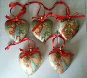 Set of 5 Handmade Decoupage Traditional Christmas Tree Decoupage Baubles Hearts