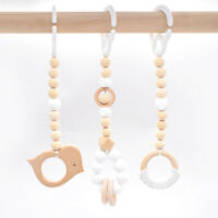 Bird Wooden Crochet Ring Play Gym Toys Silicone Beads Chew Teether Stroller Toy
