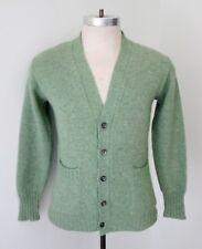 VGC Vtg 60s Rat Pack Light Green Grandpa Grunge Cardigan Sweater Pockets S