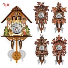 Living Room Wall Clock Pendulum Bird Cuckoo Hanging Wood Home Decorative Vintage