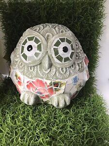 Mosaic OWL Ceramic Statue garden ornament ~ Poppy feature