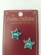 NEW Mill Hill Handmade Ceramic Button Set for Cross Stitch TEAL BLUE STARS star