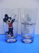 "☆ Walt Disney World Mickey Mouse Golf Glass Tumbler 6-1/4"" Tall Lot of 2"