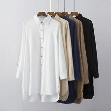 Women Retro Shirt Top Long Sleeve Irregular Loose Blouse Oversized BF Style