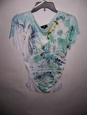 05ce118cb9fcb3 IZ Byer Women s Juniors Floral Print Cap Sleeve Shirt Top Blouse Size XL NWT