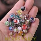 10pcs 9x12mm Mixed Flowers Crystal Faceted Rondelle Lampwork Glass Loose Beads