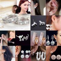 Fashion 18K Gold Silver Plated Earrings Women Elegant Crystal Ear Stud Gifts Hot