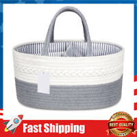 Baby Diaper Caddy Organizer,Rope Nursery Storage Bin Diaper Storage Basket