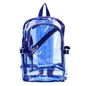 Unisex Transparent Travel Bag  School Security Clear Backpack Book Bag Plastic