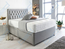GREY SUEDE CHESTERFIELD DIVAN BED SET + MEMORY MATTRESS 4FT6 Double 5FT King