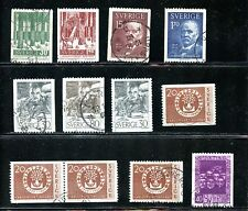 LOT 68288 USED 544/ 555  STAMPS SWEDEN FOREST TREES ANDERS ZORN SVANTE ARRHENIUS
