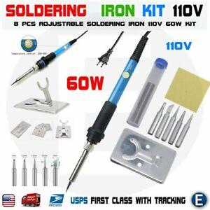 Soldering Iron Electric Gun Adjustable Temperature 60W Welding Set Tool Kit 110V