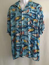 Vintage Hawaiian Shirt With Surfers  Surfboards Rayon  XL