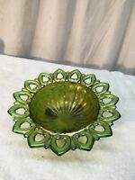 Vintage Fenton ? Carnival Glass Candy Dish Green Iridescent Footed Bowl