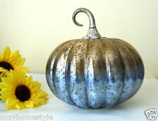 HANDBLOWN GOLDEN BLUE MERCURY ART GLASS PUMPKIN METAL STEM THANKSGIVING HARVEST