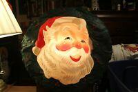 "Vintage 1940's Blow Mold Santa Light Up Wreath 23"" L.A. Goodman Chicago Plastic"