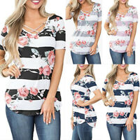 Womens Short Sleeve Criss Cross O Neck Floral Printed T Shirt Casual Loose Tops