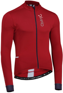 RIVELO Mens Weston Light Long Sleeve Cycling Jersey (Ruby/Navy) RRP £100