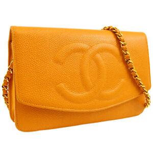 CHANEL CC Chain Shoulder Wallet Bag Purse Yellow Caviar Skin 5279299 04308