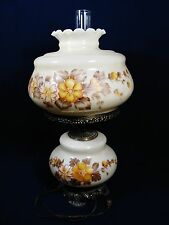 VTG GWTW Hurricane Table Lamp Handpainted Floral Milk Glass  3 Way Light  26""