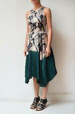COUNTRY ROAD Beige Black Floral Print Green Pleat Asymmetric Hem Midi Dress 10
