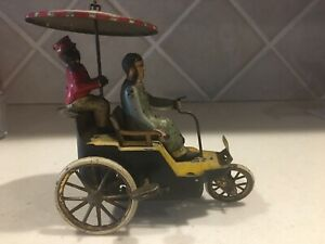 Early 1900's Made In Germany Lehmann Tin Litho Windup New Century Cycle Toy