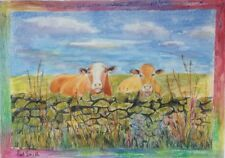 Original Framed Watercolour, Jersey Cows looking over stone wall.