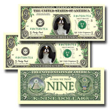 CAVALIER KING CHARLES SPANIEL Pack of THREE Novelty NINE DOLLAR BILLS Dog (#1)