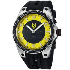 Ferrari Men's World Time Analog Digital Yellow Dial Rubber Strap Watch FE05ACCYW