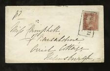 PENNY RED Perf 16 SINGLE CANCEL BOXED SCOTLAND LOCAL 1855 ENVELOPE