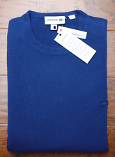 Lacoste $325 Men's 100% Cashmere Crew Neck Methylene Blue Sweater 2XL EU 7